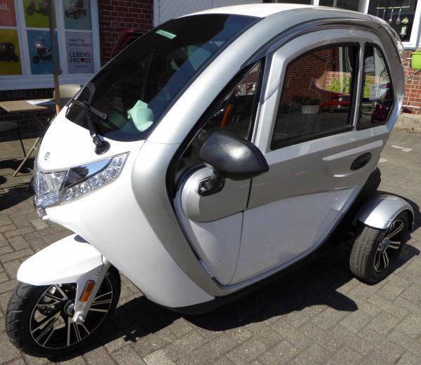 LEBENSFREUDE 3-Rad Elektro-Kabinenroller 25 km/h Silber/Weiß
