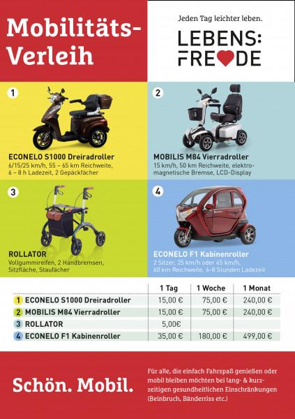 LEBENSFREUDE BY HOMANN E-Scooter/Kabinenroller und Rollatoren Verleih