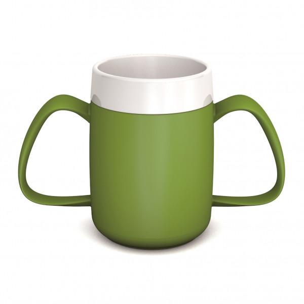 ORNAMIN Becher mit Trink-Trick und 2 seitlichen Henkeln - Grün